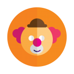 Le logo d'un clown